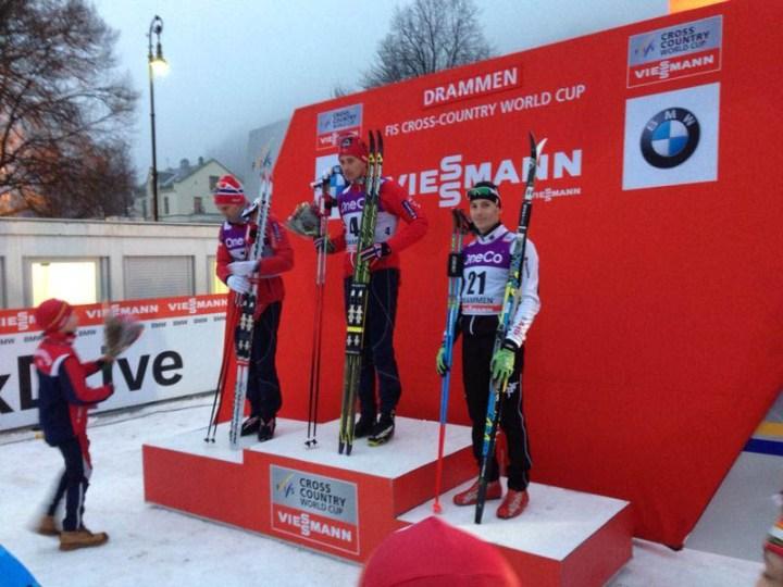 Maicol Rastelli sul podio di Coppa del Mondo di Sci di fondo-