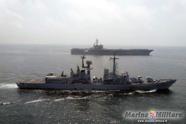 Antipirateria nave Mimbelli in addestramento con la US NAVY  nel mar Arabico
