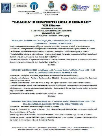 """CICLO DI CONFERENZE: """"LEALTÀ E RISPETTO DELLE REGOLE"""" - VIII EDIZIONE"""